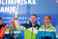 Petra Majdic, Miro Cerar, Tomaz Razingar at Lighting and Handover Ceremonies of the OKS Olympic Flame for PyeongChang 2018, on January 9, 2018 in BTC City, Ljubljana, Slovenia. Photo by Matic Klansek Velej / Sportida