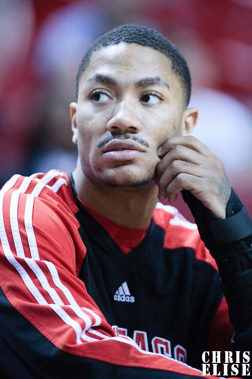 12 March 2010: Chicago Bulls guard Derrick Rose is seen on the bench prior to the Miami Heat 108-95 victory over the Chicago Bulls at the AmericanAirlines  Arena, in Miami, Florida, USA.