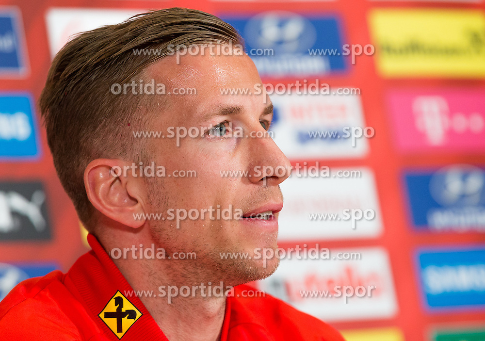 22.03.2016, Hotel & Spa Larimar, Stegersbach, AUT, OeFB Pressekonferenz, im Bild Marc Janko (AUT) // Marc Janko (AUT) during a Pressconference of Austrian National Footballteam at the Hotel & Spa Larimar in Stegersbach, Austria on 2016/03/22. EXPA Pictures © 2016, PhotoCredit: EXPA/ Dominik Angerer
