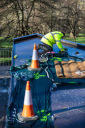 © Licensed to London News Pictures. 22/01/2019. London, UK. A workman cleans paint off the Canada Memorial in Green Pack after it was vandalised. Photo credit: Rob Pinney/LNP