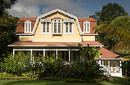 A traditional wooden plantation house on the Fond Doux Estate, a working cocoa plantation near La Soufriere, St Lucia, The Windward Islands, The Caribbean