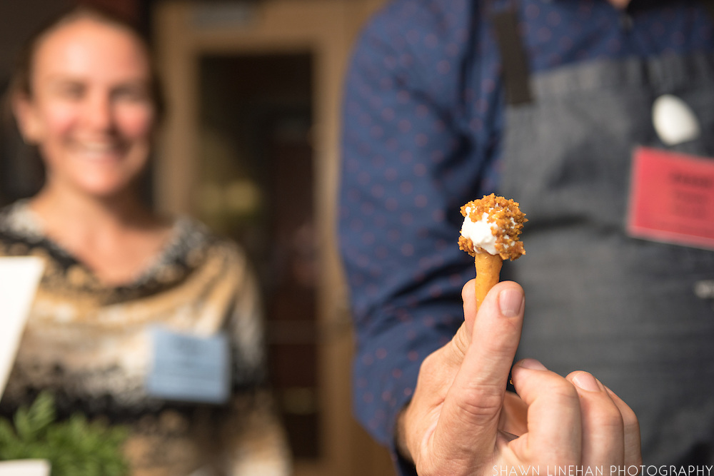 Researcher and breeder Claire Luby, UW-Madison, brought a variety of carrots to Chef Jason French of Ned Ludd who cooked the tips and made a dip and crumble.