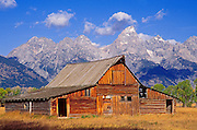 Weathered barn on Antelope Flats under the Grand Tetons, Grand Teton National Park, Wyoming
