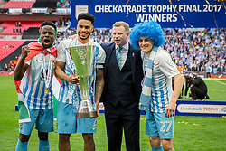 Coventry City with Coventry City manager Mark Robins celebrating winning the Checkatrade Trophy Final, Coventry City 2-1 Oxford United - Photo mandatory by-line: Jason Brown/JMP -  02/04//2017 - SPORT - Football - London - Wembley Stadium - Coventry City v Oxford United - Checkatrade Trophy Final