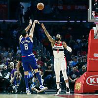 09 December 2017: LA Clippers forward Danilo Gallinari (8) takes a jump shot over Washington Wizards forward Markieff Morris (5) during the LA Clippers 113-112 victory over the Washington Wizards, at the Staples Center, Los Angeles, California, USA.