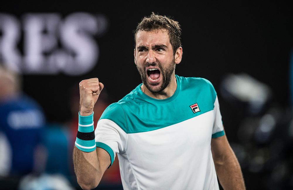Marin Cilic of Croatia on day nine of the 2018 Australian Open in Melbourne Australia on Tuesday January 23, 2018.<br /> (Ben Solomon/Tennis Australia)