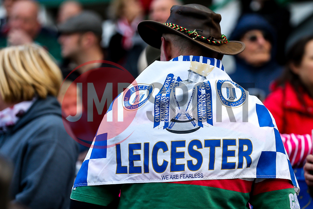 A Leicester Tigers wears a Leicester City flag at Welford Road in tribute to Leicester City Chairman Vichai Srivaddhanaprabha - Mandatory by-line: Robbie Stephenson/JMP - 03/11/2018 - RUGBY - Welford Road Stadium - Leicester, England - Leicester Tigers v Worcester Warriors - Gallagher Premiership Rugby