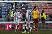 Huddersfield Town midfielder Joe Lolley (18) scores a goal and celebrates to make the score 1-2 during the Sky Bet Championship match between Huddersfield Town and Burnley at the John Smiths Stadium, Huddersfield, England on 12 March 2016. Photo by Simon Davies.