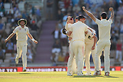 Joe Root and England celebrate the 60 run win over India  during the fourth day of the 4th SpecSavers International Test Match 2018 match between England and India at the Ageas Bowl, Southampton, United Kingdom on 2 September 2018.