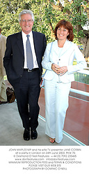 JOHN MAPLES MP and his wife TV presenter JANE CORBIN at a party in London on 24th June 2003.PKW 76