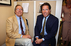 Left to right, the EARL OF SNOWDON and his son VISCOUNT LINLEY at an exhibition of photographs by Lord Snowdon held at the Chris Beetles Gallery, Ryder Street, London on 18th September 2006.<br />
