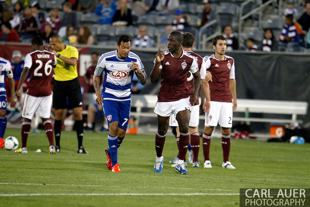 June 1st, 2013 - Colorado Rapids midfielder Hendry Thomas (12) explains to FC Dallas forward Blas Pérez (7) that this is the Rapids home in second half action of the MLS match between FC Dallas and the Colorado Rapids at Dick's Sporting Goods Park in Commerce City, CO