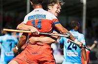 BREDA -Jeroen Hertzberger (Ned) heeft gescoord en Robbert Kemperman (Ned) en Mirco Pruyser (Ned) vieren het maar het doelpunt wordt afgekeurd.   tijdens Nederland- India (1-1) bij  de Hockey Champions Trophy. India plaatst zich voor de finale.   COPYRIGHT KOEN SUYK