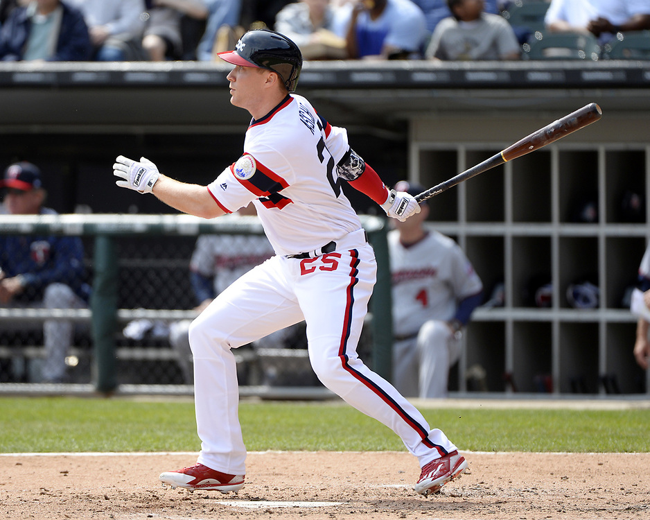 CHICAGO - APRIL 09:  Cody Asche #25 of the Chicago White Sox bats during the game against the Minnesota Twins on April 9, 2017 at Guaranteed Rate Field in Chicago, Illinois.  (Photo by Ron Vesely)   Subject:  Cody Asche