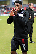 Grimsby Town midfielder Mitch Rose (8) applauds the fans during the EFL Sky Bet League 2 match between Grimsby Town FC and Port Vale at Blundell Park, Grimsby, United Kingdom on 10 March 2018. Picture by Mick Atkins.