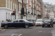 A Rolls-Royce Silver Shadow turning onto Wimpole Street, Marylebone, London, United Kingdom. (photo by Andrew Aitchison / In pictures via Getty Images)