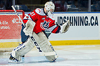 KELOWNA, CANADA - JANUARY 17: Reece Klassen #31 of the Lethbridge Hurricanes warms up in net against the Kelowna Rockets on January 17, 2018 at Prospera Place in Kelowna, British Columbia, Canada.  (Photo by Marissa Baecker/Shoot the Breeze)  *** Local Caption ***