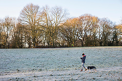 © Licensed to London News Pictures. 18/01/2018. London, UK. A woman walking her dog on a frosty Hampstead Heath. Photo credit: Rob Pinney/LNP