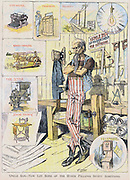 Uncle Sam  -  Now Let Some of the Other Fellows Invent Something': cartoon by Charles Nelan (1858-1904) from 'New York Herald' 9 January 1898. .Uncle Sam in workshop, surrounded by Typewriter, Phonograph, Reaper, Telegraph, Telephone,  etc.