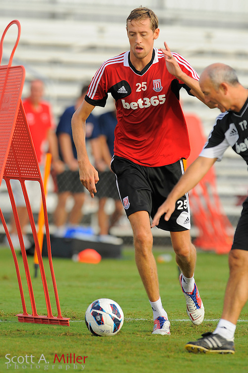 Stoke City Potters forward Peter Crouch (25) during a training session at the Seminole Soccer Complex on July 27, 2012 in Sanford, Florida. ..©2012 Scott A. Miller..