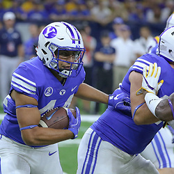 Sep 2, 2017; New Orleans, LA, USA; Brigham Young Cougars running back Kavika Fonua (44) runs against the LSU Tigers during the first quarter of the AdvoCare Texas Kickoff game at the Mercedes-Benz Superdome. Mandatory Credit: Derick E. Hingle-USA TODAY Sports