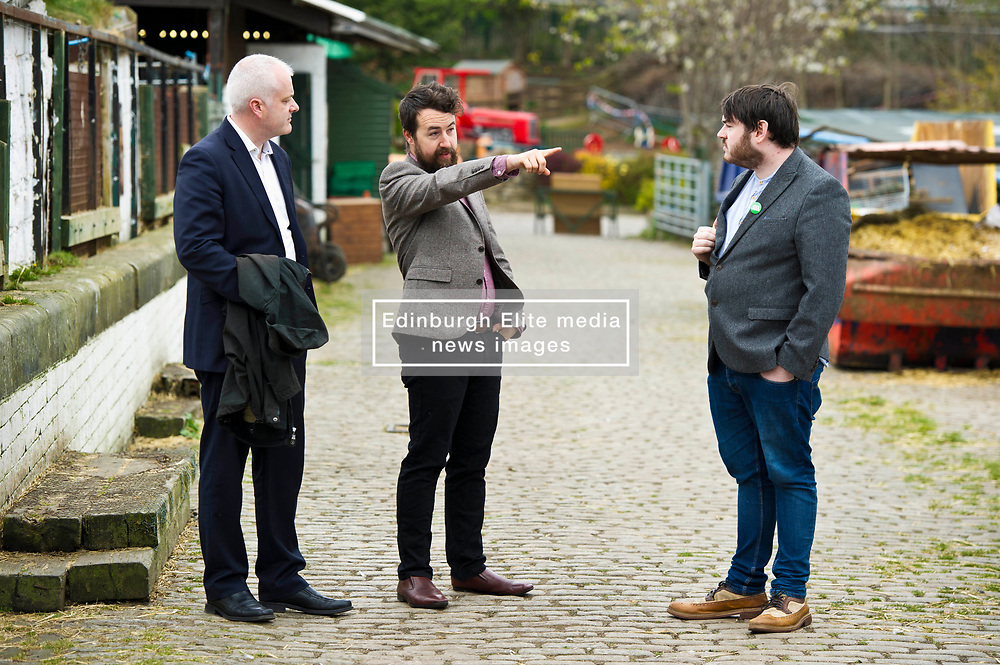Pictured: Mark Ruskell, Local Candidate Dan Heap and Gorgie City Farm Chief Executive Josiah Lockhart<br /> Scottish Greens on local election campaign trail. Mark Ruskell MSP, the party's environment spokesperson, joined candidate for the Sighthill/Gorgie ward Dan Heap on a visit to Gorgie city farm. The pair met Chief executive of the farm, Josiah Lockhart and Develoopment and fundraising manager, Sarah Campbell during their tour.<br /> <br /> <br /> Ger Harley   EEm 19 April 2017