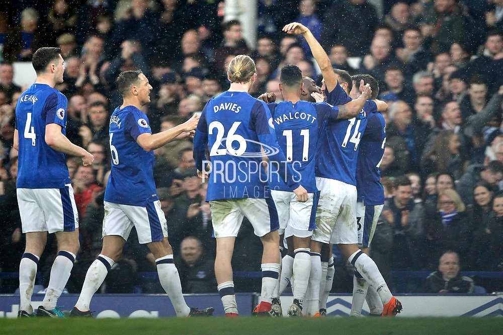 Everton celebrate Everton striker Theo Walcott (11) goal 1-0 during the Premier League match between Everton and Brighton and Hove Albion at Goodison Park, Liverpool, England on 10 March 2018. Picture by Craig Galloway.