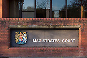 The sign to Folkestone Magistrates Court, Folkestone, Kent.  (photo by Andrew Aitchison / In pictures via Getty Images)