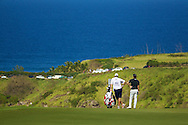 January 10 2015:  Sang-Moon Bae and his caddie take in the view from the eleventh green while they wait to tee off during the Second Round of the Hyundai Tournament of Champions at Kapalua Plantation Course on Maui, HI.