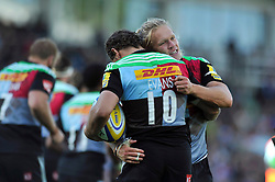 Matt Hopper of Harlequins celebrates his try with Nick Evans - Photo mandatory by-line: Patrick Khachfe/JMP - Mobile: 07966 386802 04/10/2014 - SPORT - RUGBY UNION - London - The Twickenham Stoop - Harlequins v London Welsh - Aviva Premiership
