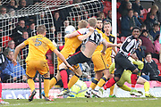 Grimsby Town defender Nathan Clarke (5) battles for the ball from a corner during the EFL Sky Bet League 2 match between Grimsby Town FC and Port Vale at Blundell Park, Grimsby, United Kingdom on 10 March 2018. Picture by Mick Atkins.