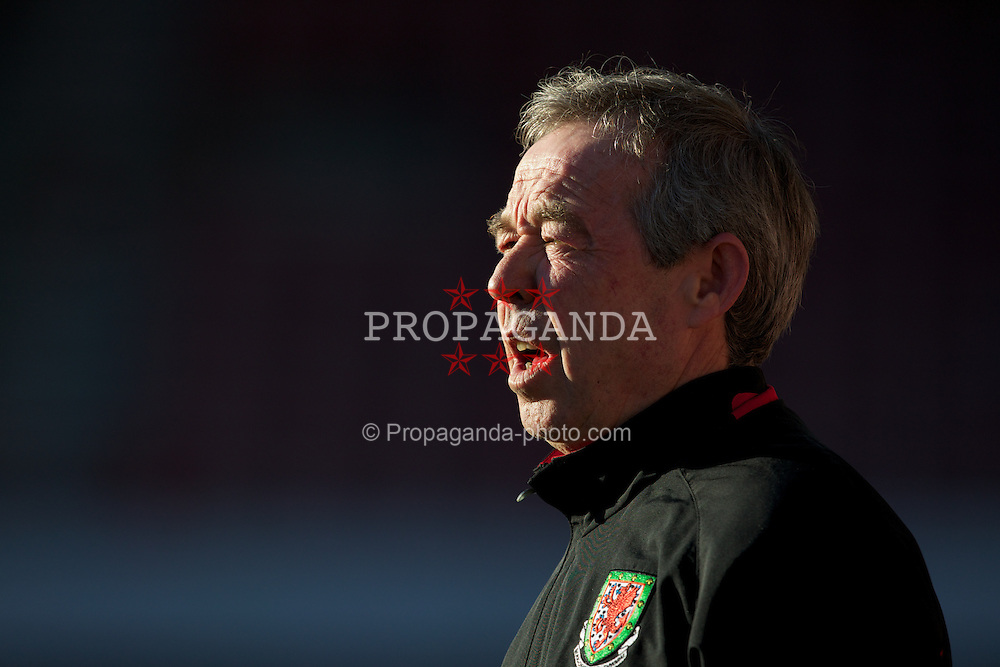WREXHAM, WALES - Wednesday, February 29, 2012: Wales' manager Brian Flynn before the UEFA Under-21 Championship Qualifying Group 3 match against Andorra at the Racecourse Ground. (Pic by Vegard Grott/Propaganda)