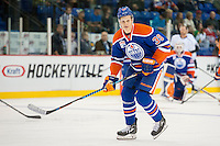 KELOWNA, CANADA - OCTOBER 2: Jesse Puljujarvi #39 of the Edmonton Oilers warms up against Los Angeles Kings on October 2, 2016 at Kal Tire Place in Vernon, British Columbia, Canada.  (Photo by Marissa Baecker/Shoot the Breeze)  *** Local Caption *** Jesse Puljujarvi;
