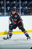 KELOWNA, CANADA - SEPTEMBER 5: Kyle Topping #24 of the Kelowna Rockets skates with the puck against the Kamloops Blazers on September 5, 2017 at Prospera Place in Kelowna, British Columbia, Canada.  (Photo by Marissa Baecker/Shoot the Breeze)  *** Local Caption ***
