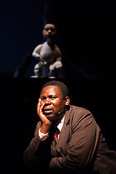 "© Licensed to London News Pictures. 06/09/2011. London, UK. Actor Mncedisi Shabangu. Silk Street Theatre at the Barbican presents ""Woyzeck on the Highveld"" by the Handspring Puppet Company directed by William Kentridge based on a play by Georg Büchner. Photo credit: Bettina Strenske/LNP"