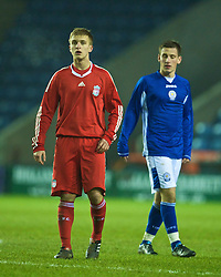 LEICESTER, ENGLAND - Tuesday, January 12, 2010: Liverpool's Matty McGiveron in action against Leicester City during the FA Youth Cup 4th Round match at the Walkers Stadium. (Photo by David Rawcliffe/Propaganda)
