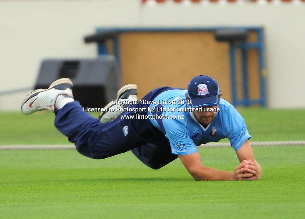 Auckland's Greg Todd catches Grant Elliott. One Day cricket - Wellington Firebirds v Auckland Aces at Allied Nationwide Finance Basin Reserve, Wellington on Wednesday, 2 February 2011. Photo: Dave Lintott / photosport.co.nz
