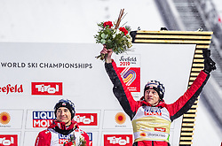01.03.2019, Seefeld, AUT, FIS Weltmeisterschaften Ski Nordisch, Seefeld 2019, Skisprung, Herren, Flower Zeremonie, im Bild Silbermedaillengewinner Kamil Stoch (POL), Goldmedaillengewinner und Weltmeister Dawid Kubacki (POL) // Silver medallist Kamil Stoch (POL) Gold Medallist and World Champion Dawid Kubacki (POL) during the flowers ceremony for the men's Skijumping of FIS Nordic Ski World Championships 2019. Seefeld, Austria on 2019/03/01. EXPA Pictures © 2019, PhotoCredit: EXPA/ JFK