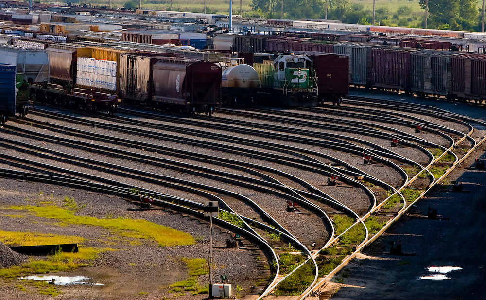 Many freight cars are lined up in BNSF's huge Galesburg, IL classification yard.