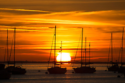 © Licensed to London News Pictures. 23/08/2016. Sun rising over the Thames as seen from Gravesend in Kent this morning.  Credit : Rob Powell/LNP
