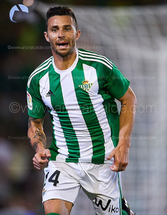 SEVILLE, SPAIN - SEPTEMBER 16:  Ruben Castro of Real Betis Balompie reacts during the match between Real Betis Balompie vs Granada CF as part of La Liga at Benito Villamarin stadium on September 16, 2016 in Seville, Spain.  (Photo by Aitor Alcalde Colomer/Getty Images)