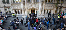 © Licensed to London News Pictures. 17/09/2019. London, UK. Business woman and campaigner Gina Miller (C) leaves The Supreme Court after the first day of hearings. Today the court started hearing appeals against Scottish and English courts decisions on the government's proroguing of Parliament. Photo credit: Peter Macdiarmid/LNP