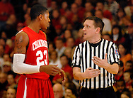5 MARCH 2011 -- NORMANDY, Mo -- Chaminade College Prep basketball player Bradley Beal (23) speaks with an official after being called for his fourth fourl during the MSHSAA Class 5 boys basketball quarterfinals between Chaminade and McCluer North High School at Mark Twain Hall on the University of Missouri - St. Louis campus in Normandy, Mo. Saturday, March 5, 2011. Beal was forced from the game with the foul. The Stars upset the Red Devils 57-56 to advance to MSHSAA semifinals. Image © copyright 2011 Sid Hastings.