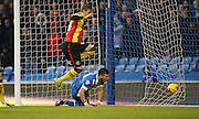 Brighton striker, Tomer Hemed (10) goal is disallowed during the Sky Bet Championship match between Brighton and Hove Albion and Birmingham City at the American Express Community Stadium, Brighton and Hove, England on 28 November 2015.