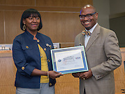 Dr. Josephine Rice receives a Patriotic Employer commendation during a Principal meeting, June 11, 2014.