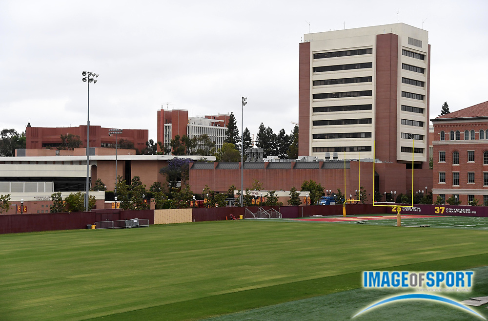 General overall view of Howard Jones Field on the campus of the University of Southern California in Los Angeles, Friday, May 11, 2018. Howard Jones Field is the is the practice facility for the USC Trojans football team. It was expanded in the fall of 1998 to include Brian Kennedy Field.
