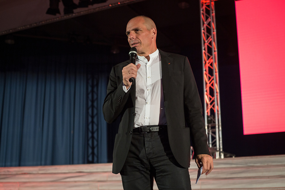 Yanis Varoufakis giving speech during the central event of the DiEM25 political movement at Vellidio Conference Center in Thessaloniki, Greece, on the 29th of April 2017.