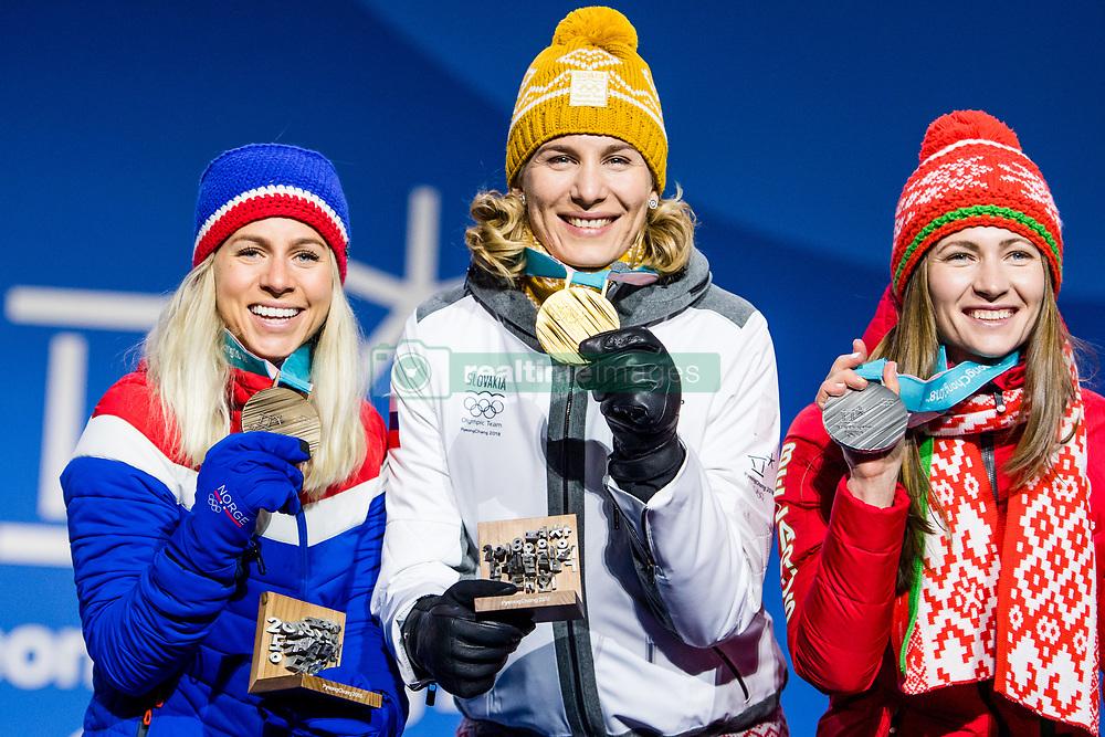 February 18, 2018 - Pyeongchang, SOUTH KOREA - 180218 Marte Olsbu of Norway, Bronze,  Anastasiya Kuzmina of Slovakia, Gold, Darya Domarcheva of Belarus, Silver, celebrating at a Medal Ceremony for Women's 12.5km Mass Start during day nine of the 2018 Winter Olympics on February 18, 2018 in Pyeongchang..Photo: Petter Arvidson / BILDBYRN / kod PA / 91980 (Credit Image: © Petter Arvidson/Bildbyran via ZUMA Press)