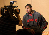 Media interviews with University of Maryland football players at the Renaissance Hotel in Washington, DC, where they will be staying for the Military Bowl. They will face East Carolina University in the Military Bowl on December 29, 2010. (Photo by Alan Lessig)
