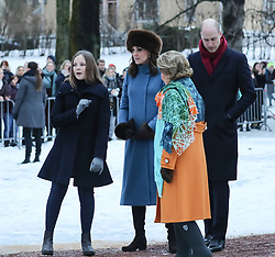 The Duke and Duchess of Cambridge along with Queen Sonja, Crown Prince Hakkon and Crown Princesses Mette-Marit and Alexandra walk through a sculpture park in Oslo<br /><br />1 February 2018.<br /><br />Please byline: POOL/John Rainford/Vantagenews.com